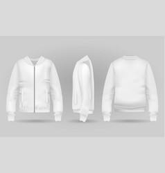 Blank white jacket bomber in front back and side vector