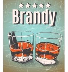Brandy in glasses on grunge background vector