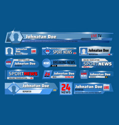 Breaking sport news television header tv backdrops vector