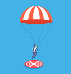 Businessman with parachute aiming on target risky vector