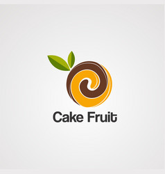 cake fruit on brown logo icon element and vector image