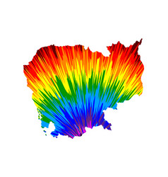 Cambodia - map is designed rainbow abstract vector