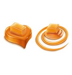 Caramel heart candy and caramel splash vector