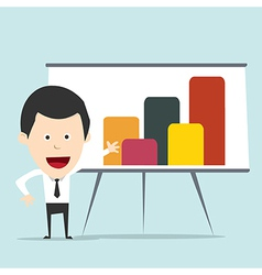 Cartoon business man present graph vector image