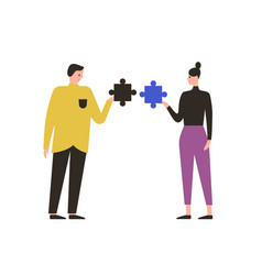 cartoon male and female with mismatch puzzle vector image