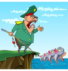 Cartoon male general fishing commanded fish vector