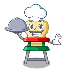 chef with food cartoon baby sitting in the vector image