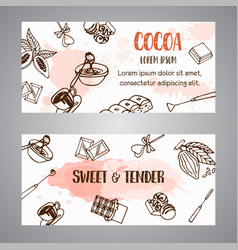 chocolate cacao sketch banners cocoa banner vector image