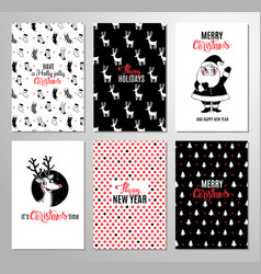 christmas hand drawn printable cards vector image