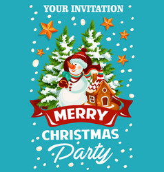 Christmas holiday celebration party invitation vector