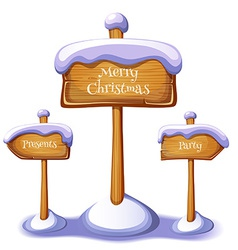 Christmas sign boards set on winter background vector