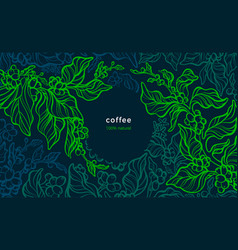 coffee plant background art line banner vector image