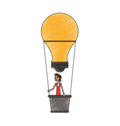 Color pencil ligth bulb hot air balloon with woman vector