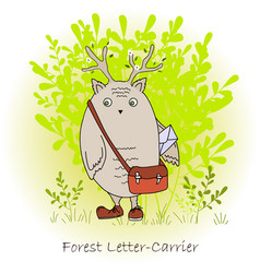 Colorful cute monster with bag forest postman vector