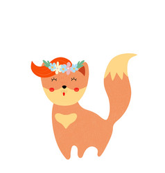 Cute fox in floral wreath bagirl shower card vector