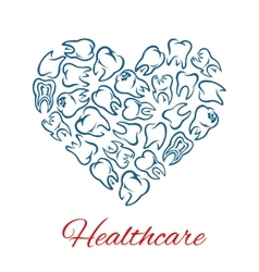 Dentistry and dental healthcare heart shape poster vector