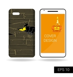 Design cover mobile smartphone Scary monster vector
