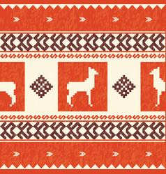 Ethnic textile pattern with lamas vector