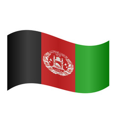 flag of afghanistan waving on white background vector image