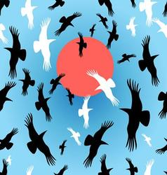 Flocks of crows circling the sun vector