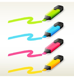 Four markers in different colors vector