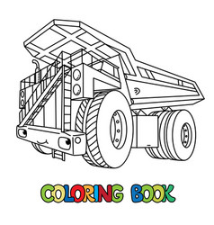 Funny heavy dump truck car with eyes coloring book vector