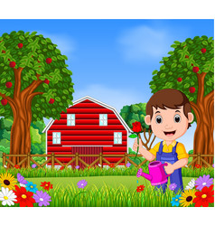 gardeners man with holding a flower and watering c vector image