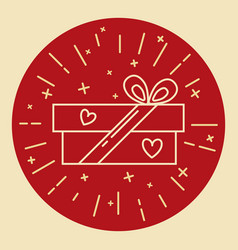 gift box icon in thin line style vector image