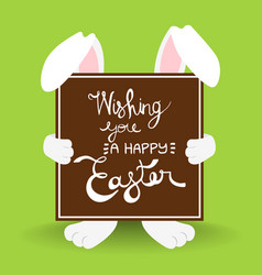 happy easter rabbit quote greeting card vector image
