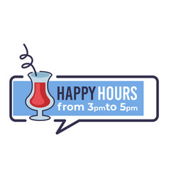 Happy hours from 3 pm to 5 pm restaurant banner vector