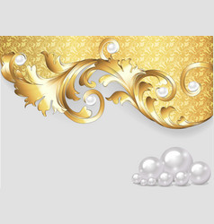 horizontal background with gold ornaments vector image
