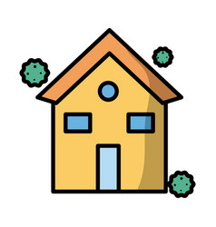 house with corona virus particles fill style vector image