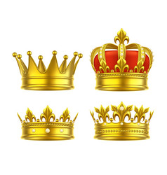 Isolated 3d king crown or realistic princess tiara vector