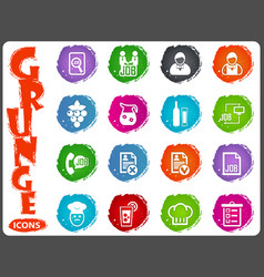 Job icons set in grunge style vector