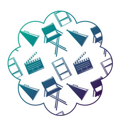 label with film movie chair megaphone and vector image