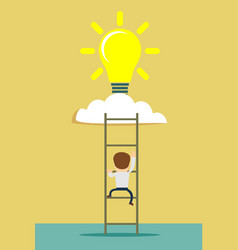 ladder to cloud with idea light bulb vector image