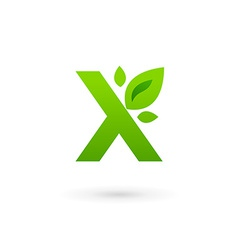 Letter X eco leaves logo icon design template vector