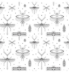 Line winged insects silhouettes pattern on white vector
