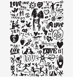 Love valentines day doodles set vector