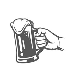 Male hand holding beer glass vector