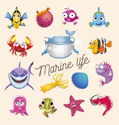 Marine life cartoon fun sea and ocean animals set vector