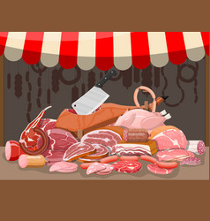 Meat street market meat store stall vector