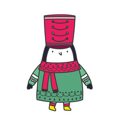 merry christmas celebration cute penguin with hat vector image