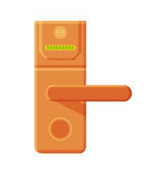 Metal golden door handle with push mechanism and vector