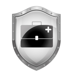 Metallic shield with bag first aid kit vector