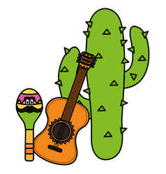 Mexican cactu plant with guitar vector
