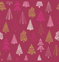 modern doodle christmas trees seamless pink vector image