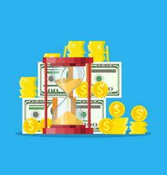 money with hourglass clock vector image