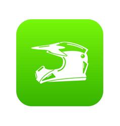 motorcycle helmet icon green vector image