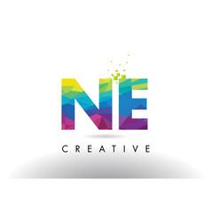 Ne n e colorful letter origami triangles design vector